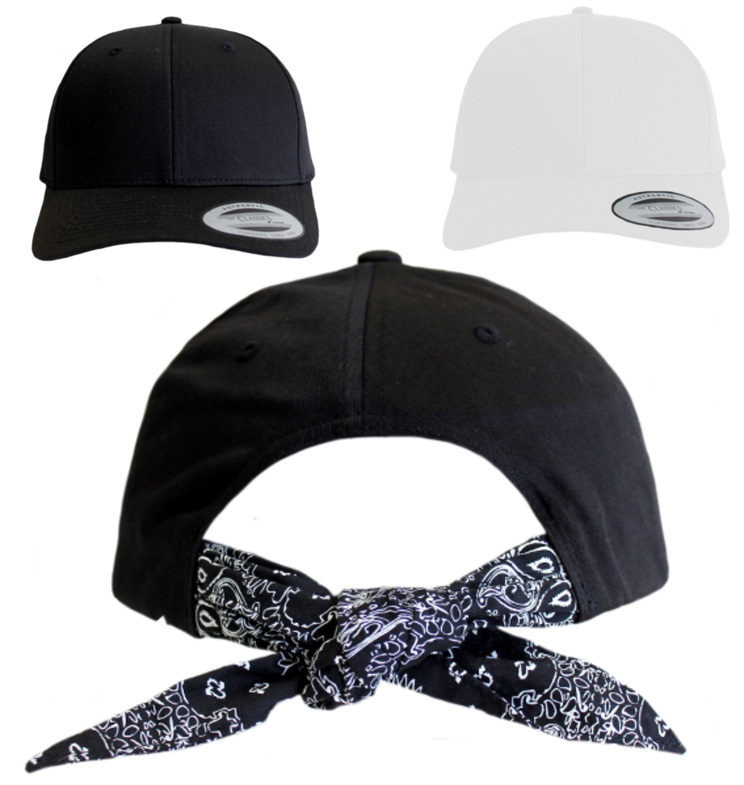 selber curved bandana tie snapback gestalten und besticken. Black Bedroom Furniture Sets. Home Design Ideas
